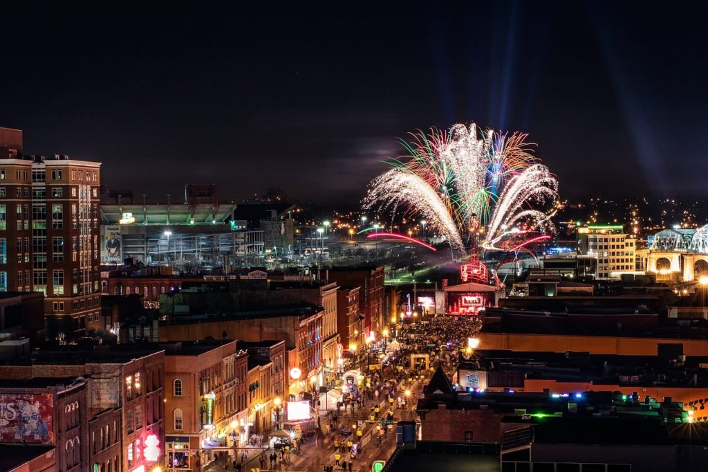 Nightlife and fireworks in downtown Nashville