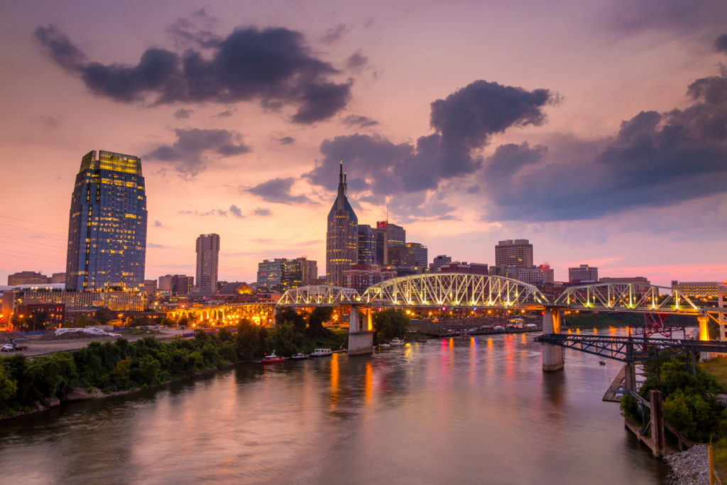 Nashville Tennessee downtown skyline at twilight in USA