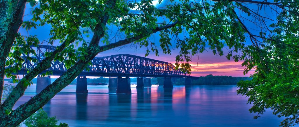 View of the Mississippi River during sunset