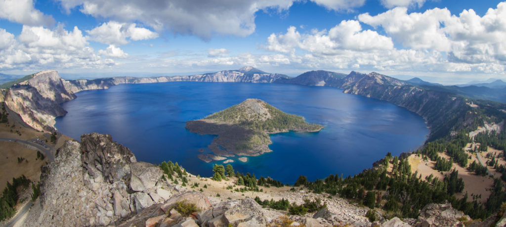 wide angle view of Crater Lake form the top of Watchman's Peak beautiful landscape in Oregon