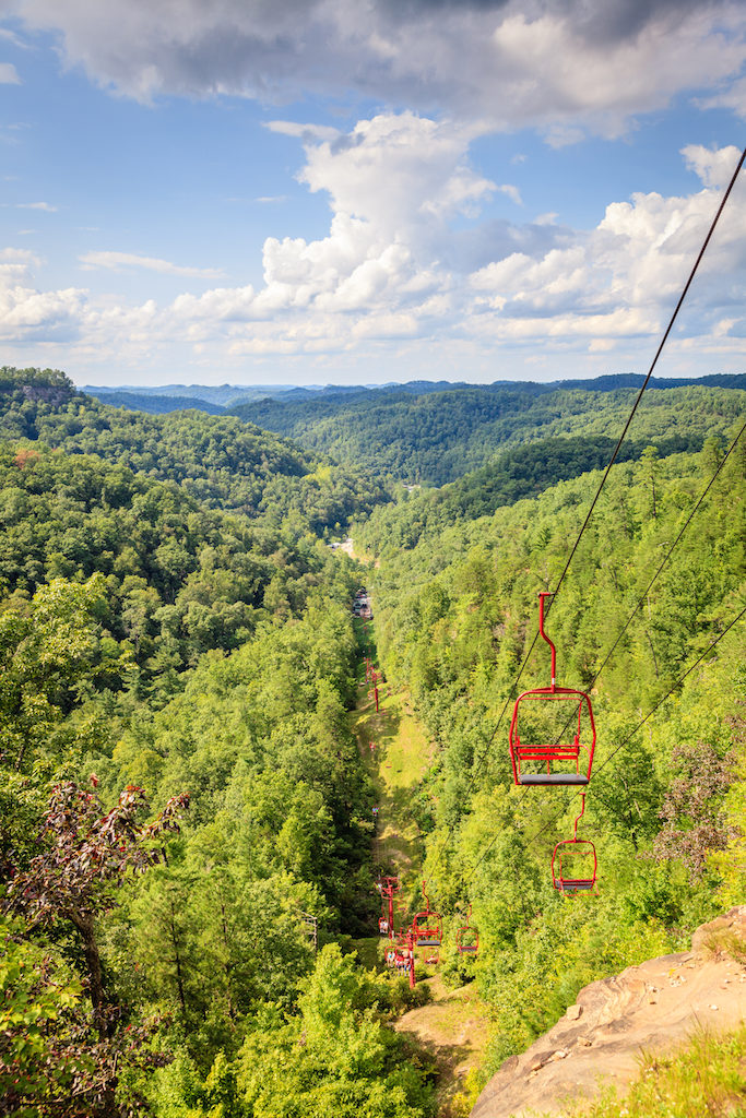 Skylift to Natural Bridge in Red River Gorge in Kentucky