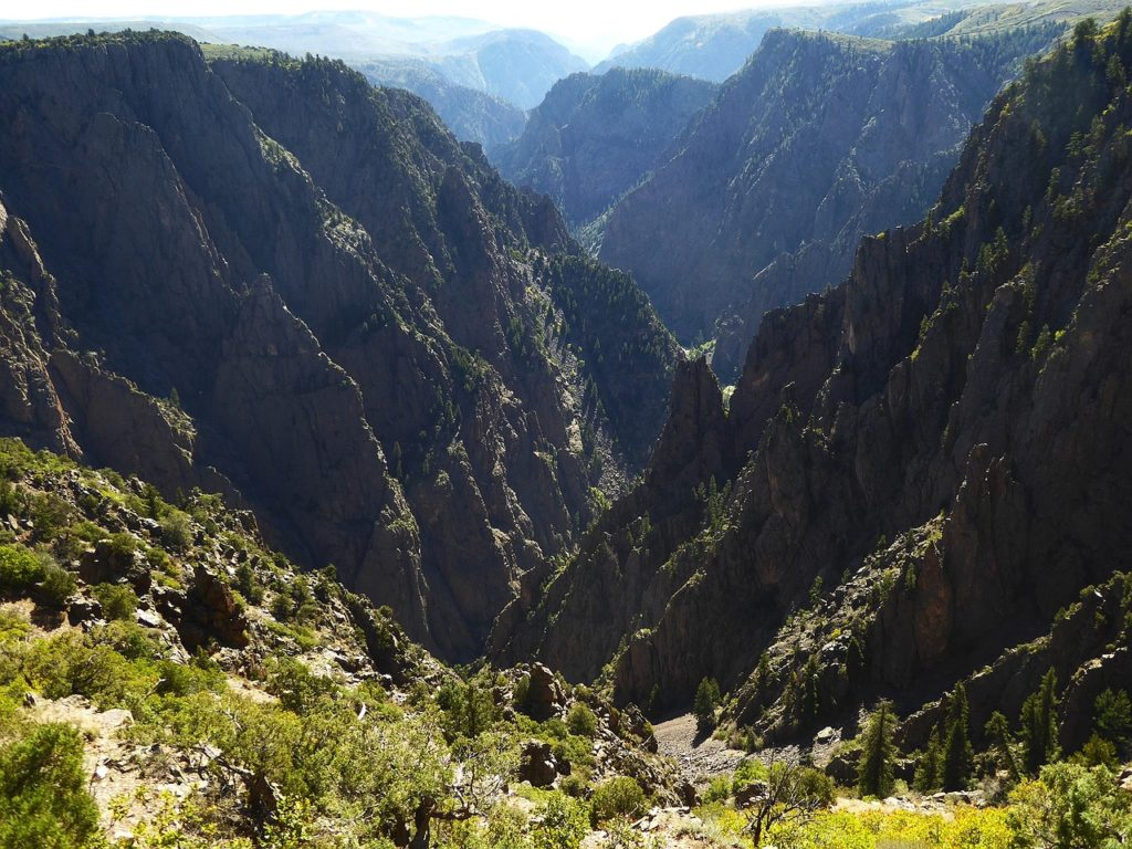 Dark black walls in the Black Canyon of the Gunnison National Park