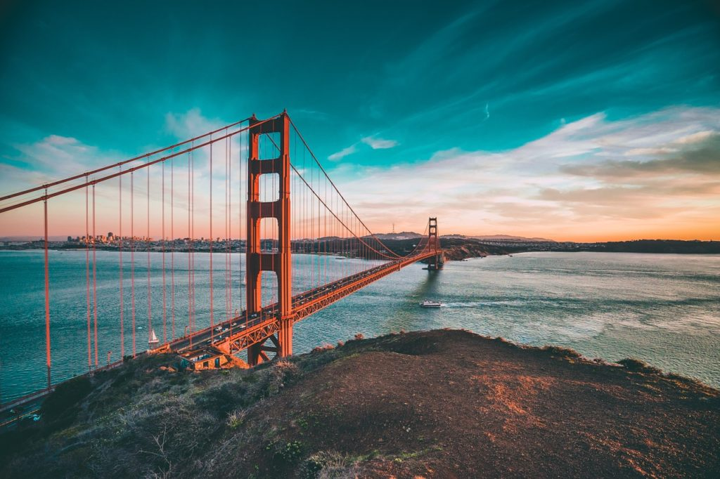 The Golden Gate Bridge in California during a colorful sunset