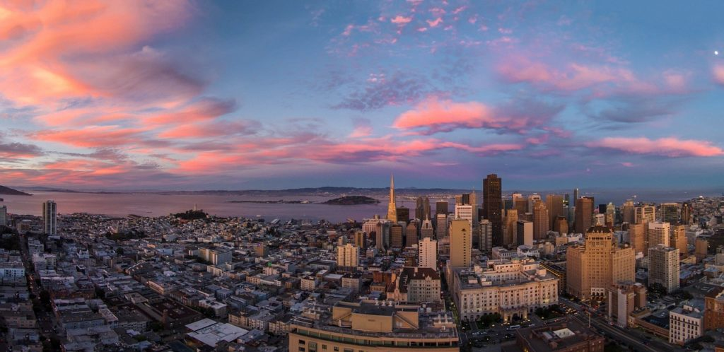 Panorama view of San Francisco during a colorful sunset