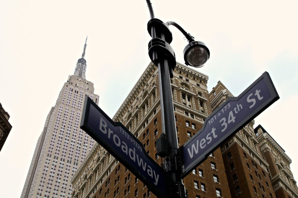 Street sign on Broadway and West 34th Street in New York