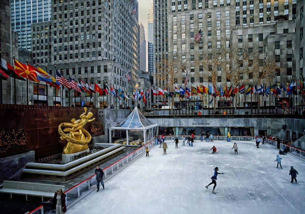Ice skating in front of Rockefeller, New York CIty