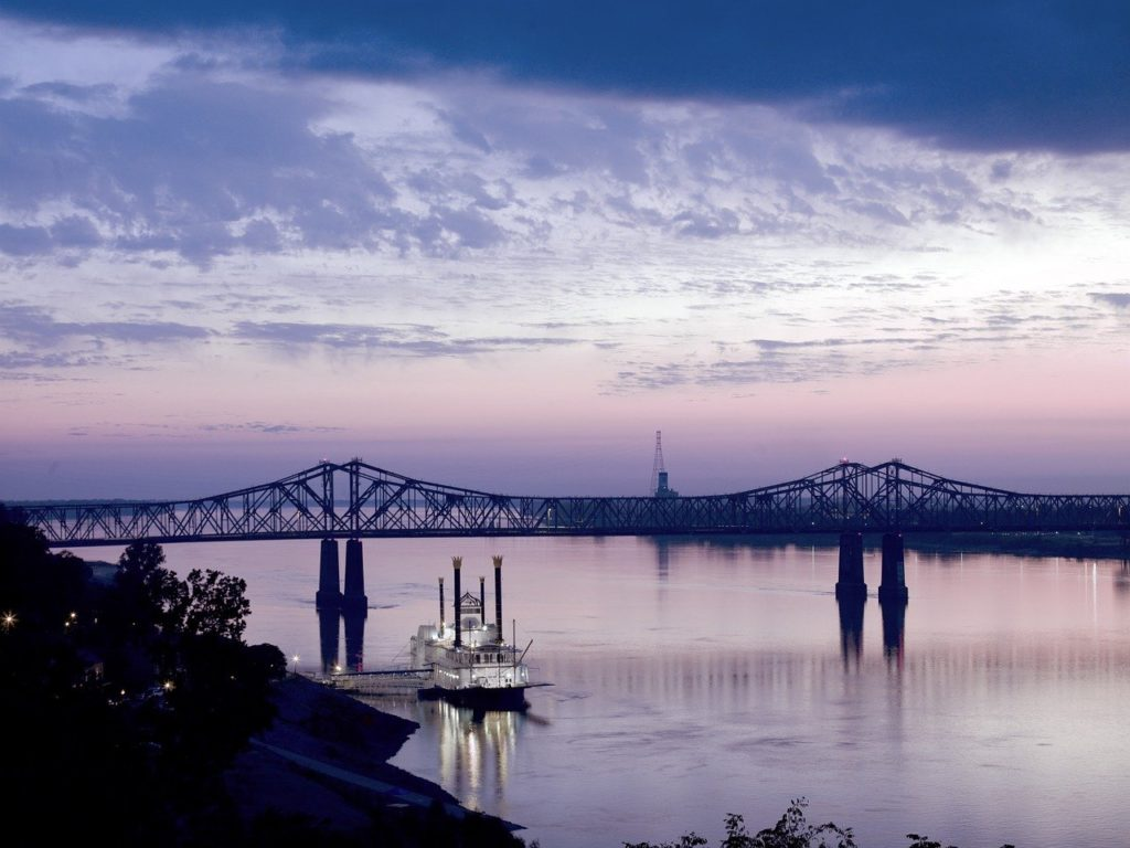 blue and purple sunset over the Mississippi River